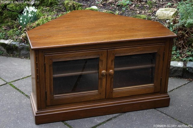 Image 75 of AN ERCOL GOLDEN DAWN CORNER TV CABINET DVD STAND TABLE UNIT