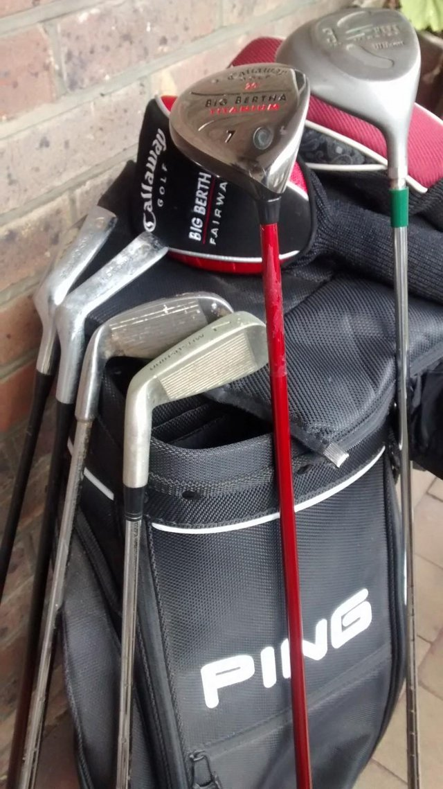 Preview of the first image of As new Ping explore golf bag and clubs.