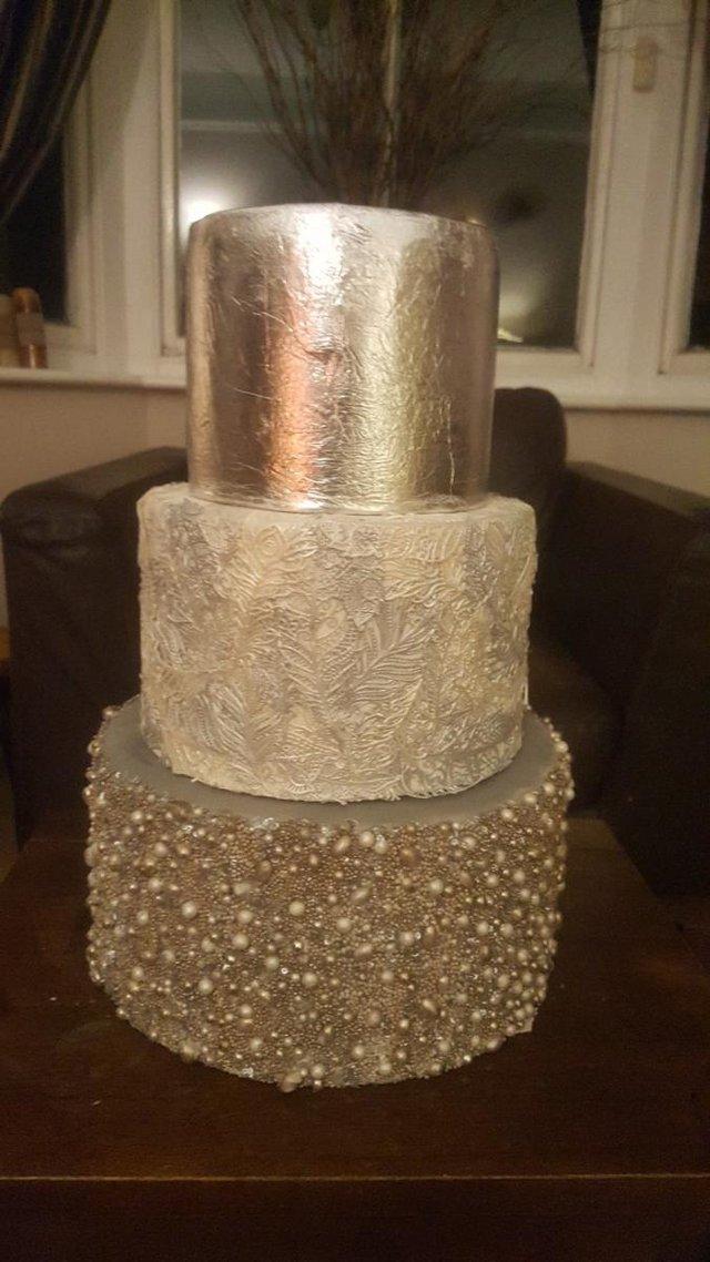 Image 2 of Homemade false 3 tier Silver Wedding Cake
