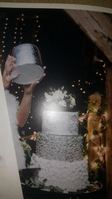 Image 3 of Homemade false 3 tier Silver Wedding Cake
