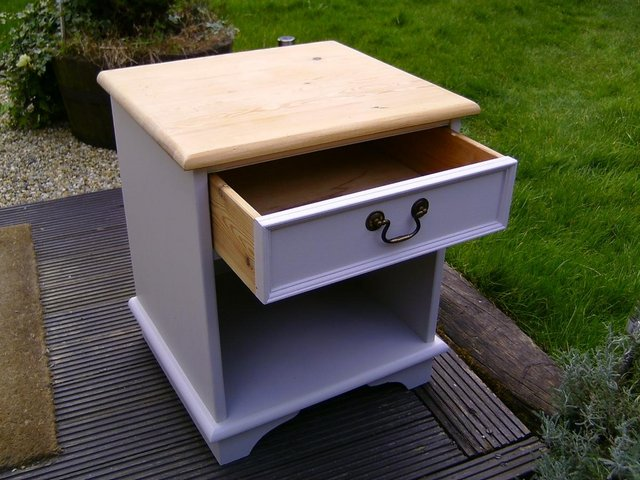 Preview of the first image of Wooden pine bedside cabinet.