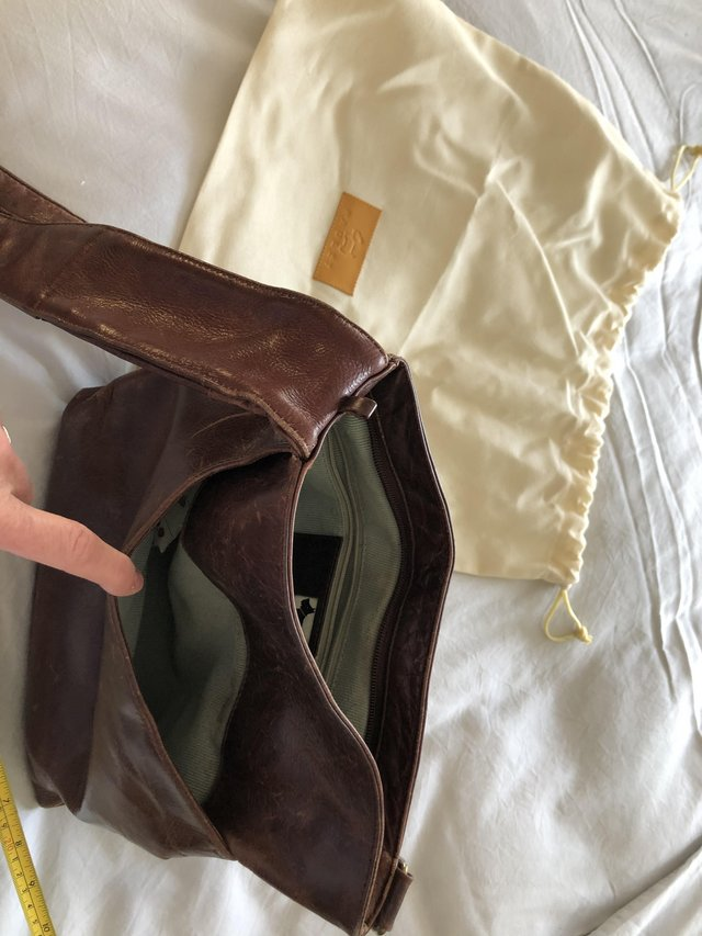 Preview of the first image of Brown leather Radley handbag.