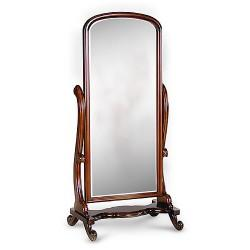 Image 2 of Beautiful Full Length Polished Wood Tilting Cheval Mirror