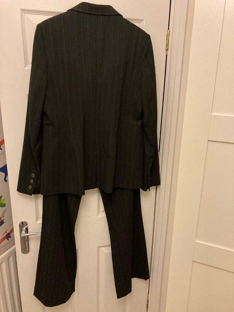 Image 2 of Black pinstripe size 14/16 ladies suit with trousers
