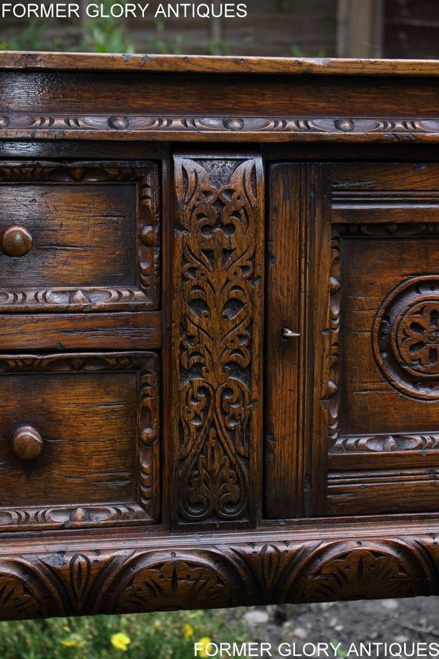 Image 22 of A TITCHMARSH AND GOODWIN CARVED OAK DRESSER BASE SIDEBOARD