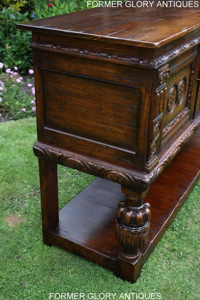Image 32 of A TITCHMARSH AND GOODWIN CARVED OAK DRESSER BASE SIDEBOARD