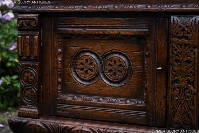Image 33 of A TITCHMARSH AND GOODWIN CARVED OAK DRESSER BASE SIDEBOARD