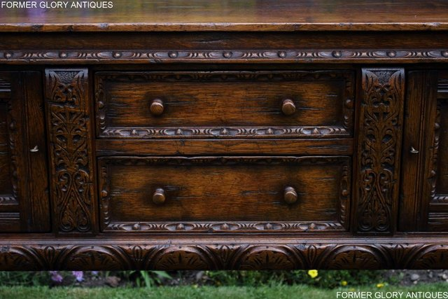Image 34 of A TITCHMARSH AND GOODWIN CARVED OAK DRESSER BASE SIDEBOARD