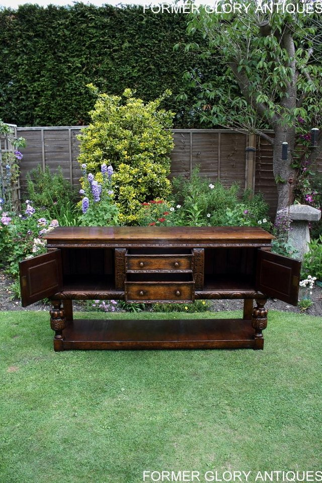 Image 38 of A TITCHMARSH AND GOODWIN CARVED OAK DRESSER BASE SIDEBOARD