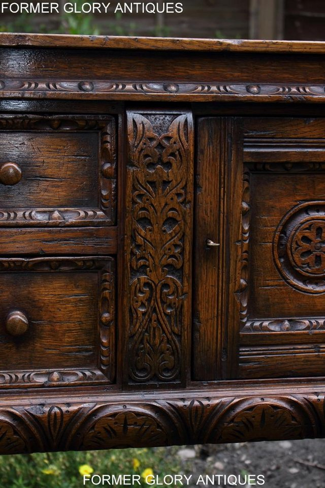 Image 39 of A TITCHMARSH AND GOODWIN CARVED OAK DRESSER BASE SIDEBOARD