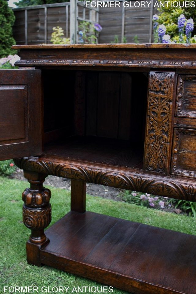 Image 47 of A TITCHMARSH AND GOODWIN CARVED OAK DRESSER BASE SIDEBOARD