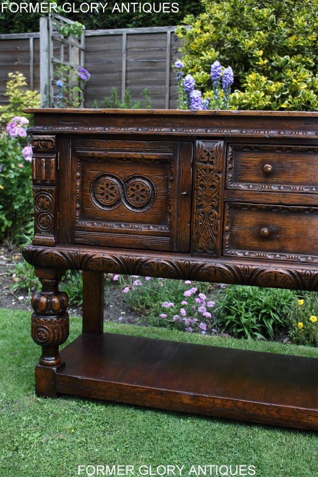 Image 48 of A TITCHMARSH AND GOODWIN CARVED OAK DRESSER BASE SIDEBOARD