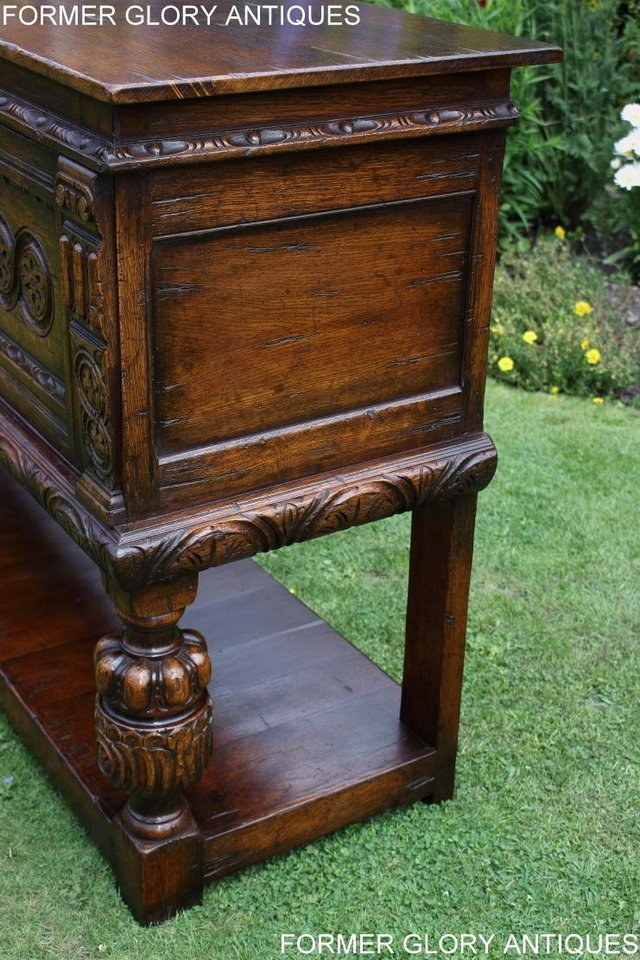 Image 57 of A TITCHMARSH AND GOODWIN CARVED OAK DRESSER BASE SIDEBOARD