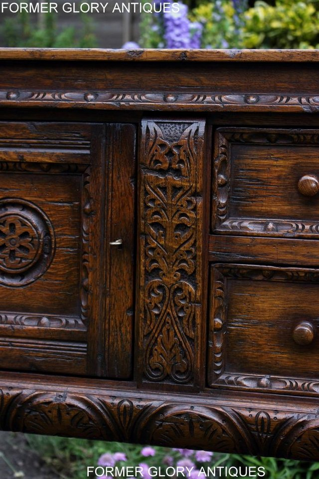Image 59 of A TITCHMARSH AND GOODWIN CARVED OAK DRESSER BASE SIDEBOARD