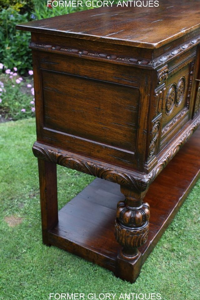Image 67 of A TITCHMARSH AND GOODWIN CARVED OAK DRESSER BASE SIDEBOARD