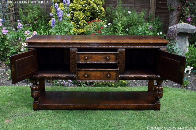Image 69 of A TITCHMARSH AND GOODWIN CARVED OAK DRESSER BASE SIDEBOARD