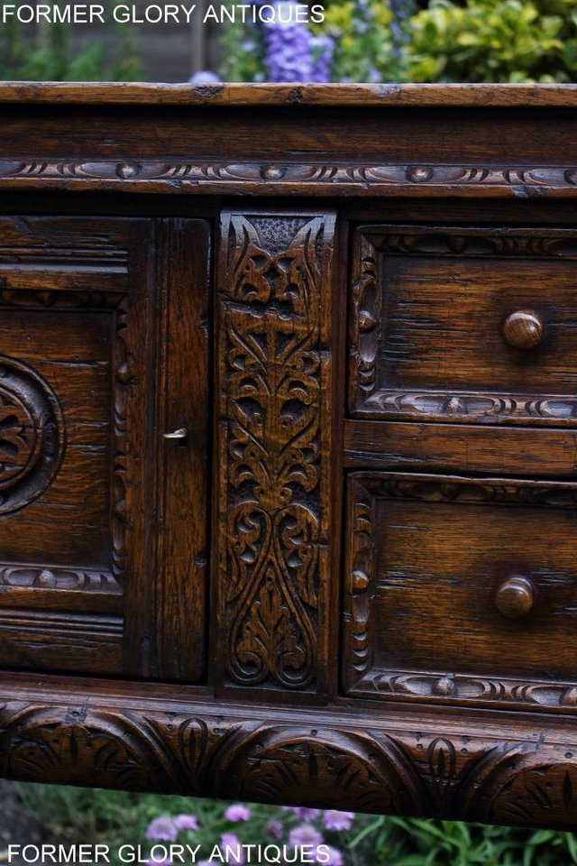 Image 74 of A TITCHMARSH AND GOODWIN CARVED OAK DRESSER BASE SIDEBOARD