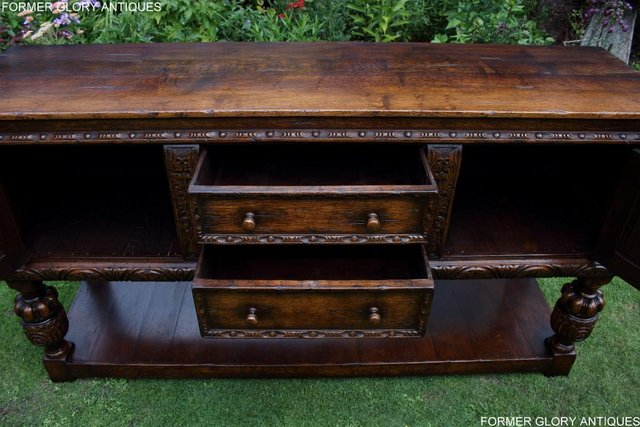 Image 75 of A TITCHMARSH AND GOODWIN CARVED OAK DRESSER BASE SIDEBOARD