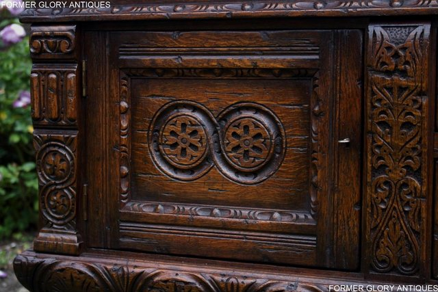 Image 83 of A TITCHMARSH AND GOODWIN CARVED OAK DRESSER BASE SIDEBOARD