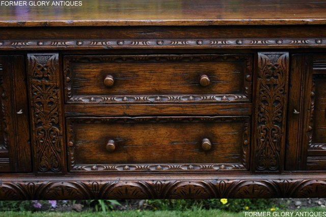 Image 89 of A TITCHMARSH AND GOODWIN CARVED OAK DRESSER BASE SIDEBOARD
