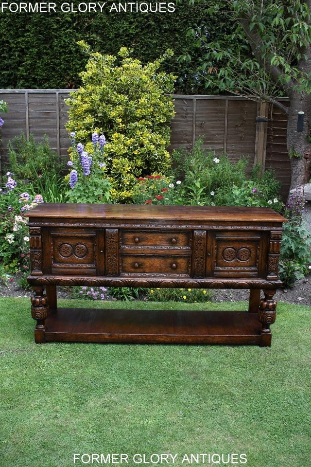 Image 91 of A TITCHMARSH AND GOODWIN CARVED OAK DRESSER BASE SIDEBOARD