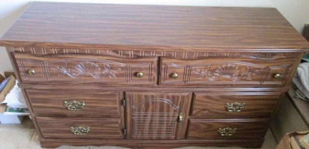Preview of the first image of Bedroom Chest/Unit, ornate/carved, USA Made, vgc.