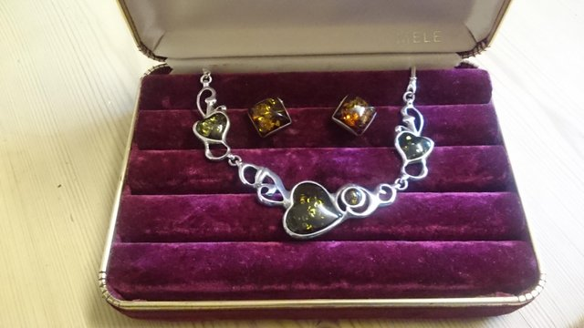 Preview of the first image of Vintage sterling silver and glass hearts jewelry set.
