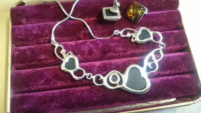 Image 5 of Vintage sterling silver and glass hearts jewelry set