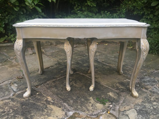 Image 2 of Vintage shabby chic/ venetian cream & gold nest of tables