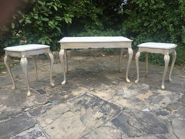 Image 3 of Vintage shabby chic/ venetian cream & gold nest of tables