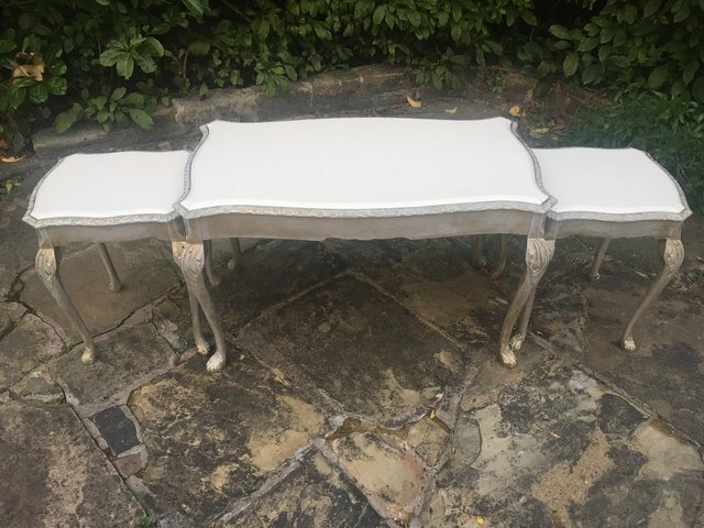 Image 4 of Vintage shabby chic/ venetian cream & gold nest of tables