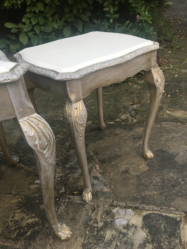 Image 5 of Vintage shabby chic/ venetian cream & gold nest of tables