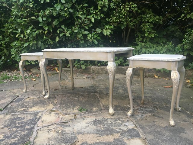 Image 6 of Vintage shabby chic/ venetian cream & gold nest of tables