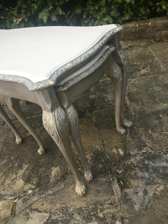Image 7 of Vintage shabby chic/ venetian cream & gold nest of tables