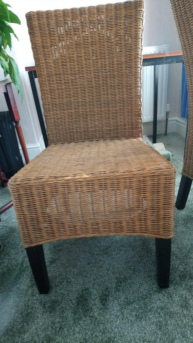 Preview of the first image of 2 Natural wicker cane chairs.