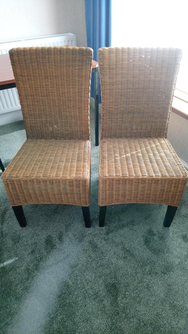 Image 3 of 2 Natural wicker cane chairs