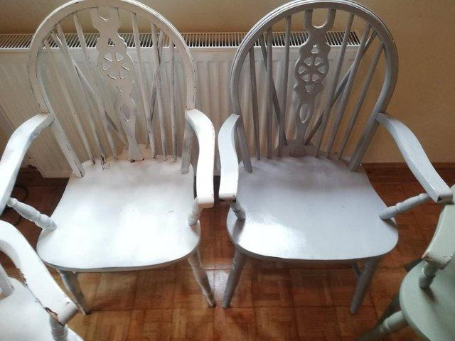 Image 2 of Vintage dining room table 4 Pine Carver Chairs