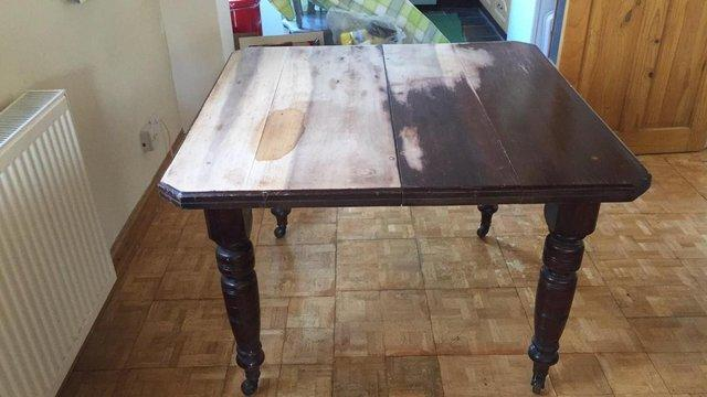 Image 3 of Vintage dining room table 4 Pine Carver Chairs