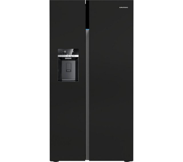 Preview of the first image of GRUNDIG NON PLUMBED BLACK AMERICAN FRIDGE FREEZER-ICE-WATER.