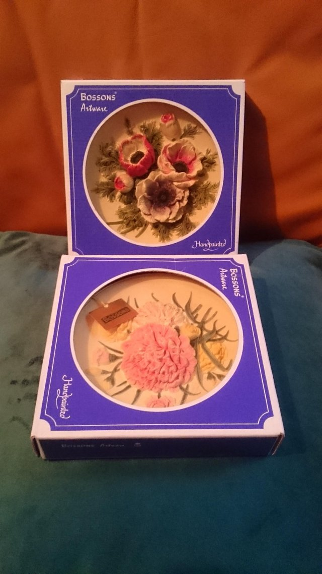 Vintage Bossons Artware Wall Hanging Flower Plates For Sale In Richmond Surrey Preloved