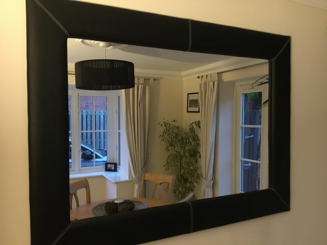 Preview of the first image of Large black leather mirror.