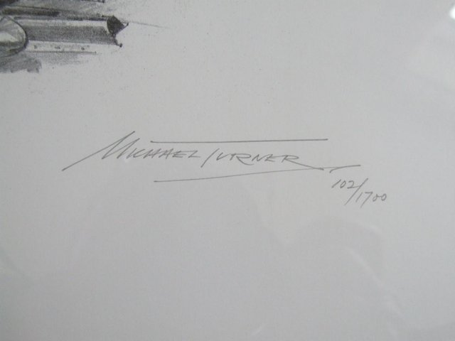 Preview of the first image of Stirling Moss signed pencil drawing by artist Michael Turner.