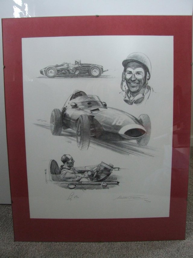Image 2 of Stirling Moss signed pencil drawing by artist Michael Turner