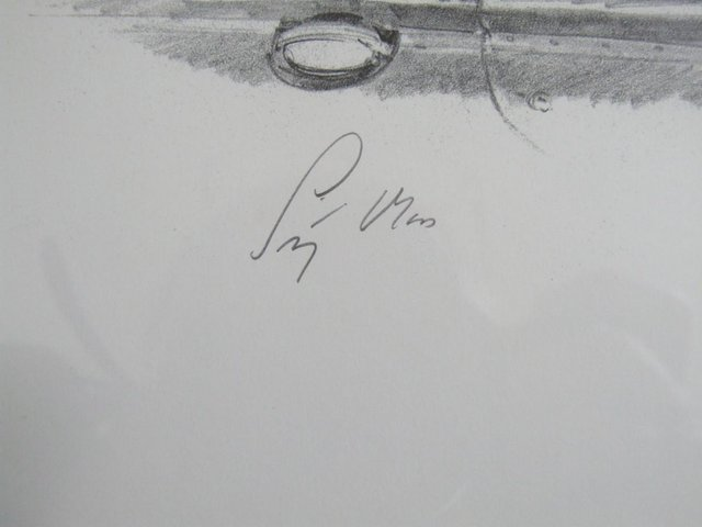 Image 3 of Stirling Moss signed pencil drawing by artist Michael Turner