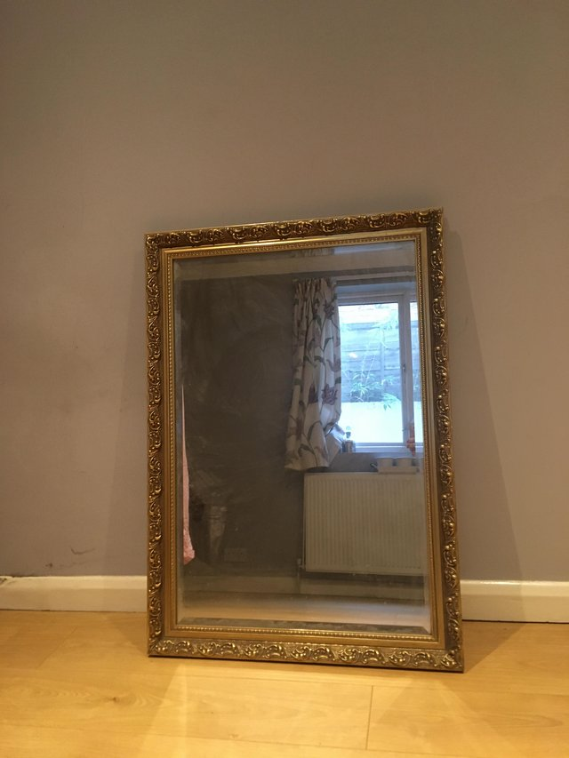 Image 2 of Antique Large gold brass mirror