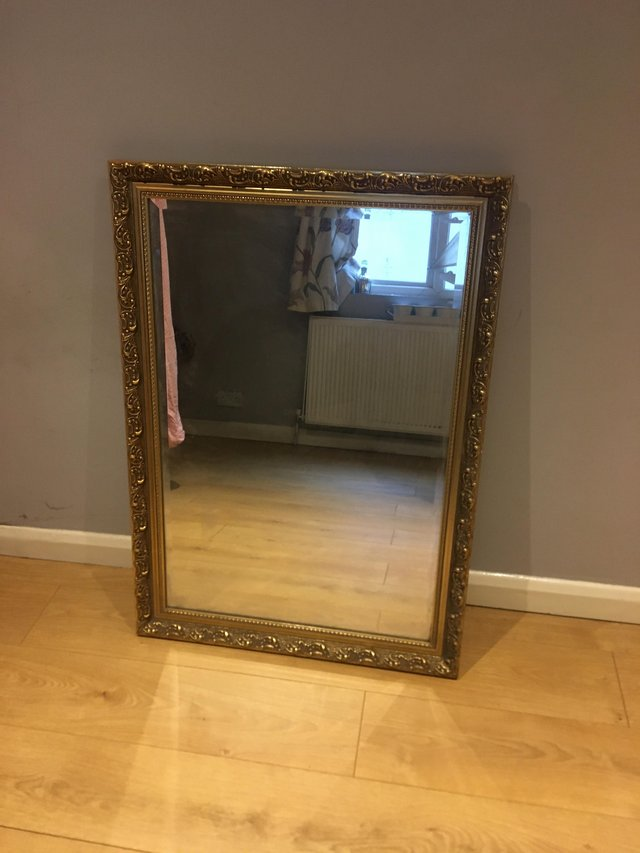 Image 3 of Antique Large gold brass mirror