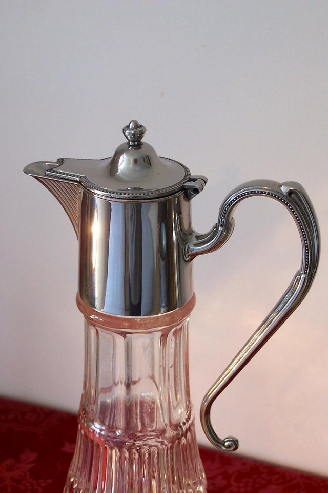 Image 3 of Vintage Style Crystal Decanter – Silver plated Top & Handle