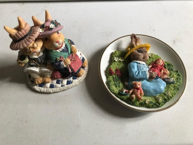 Preview of the first image of Ornament BUNDLE; Rabbits, Cats; Wedgewood dishes.