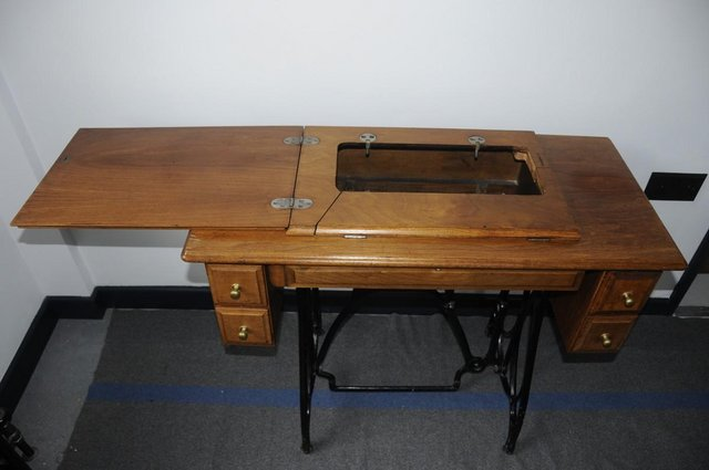 Image 2 of Jones Sewing Machine Table Four Drawers & Cast Iron Base