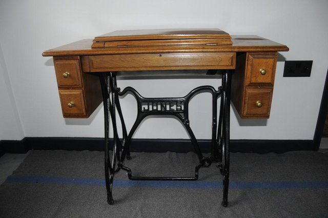 Preview of the first image of Jones Sewing Machine Table Four Drawers & Cast Iron Base.